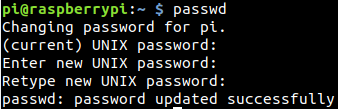 change password raspbian
