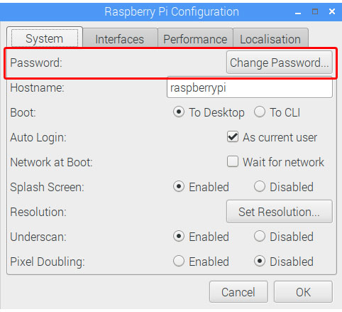change password raspbian
