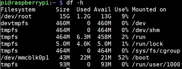 df disk space