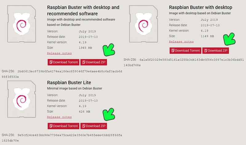 download raspbian buster