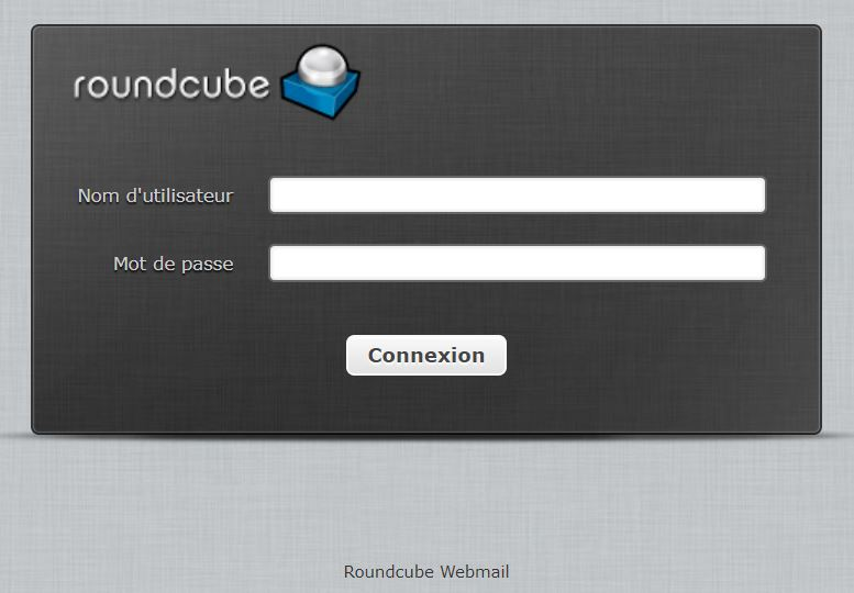 roundcube login screen
