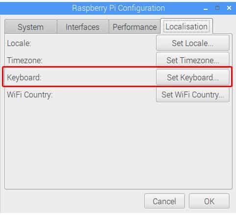 change keyboard layout raspbian