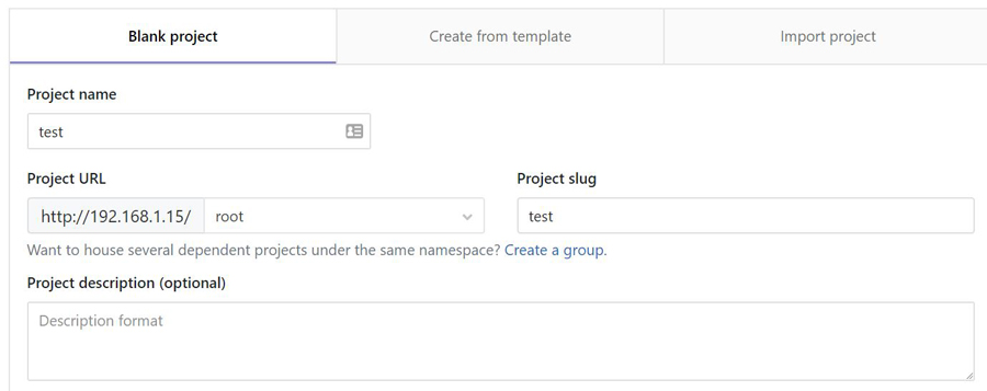 gitlab new project
