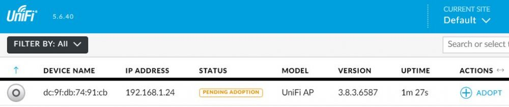 unifi ap pending adoption