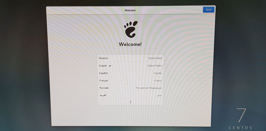 centos welcome menu