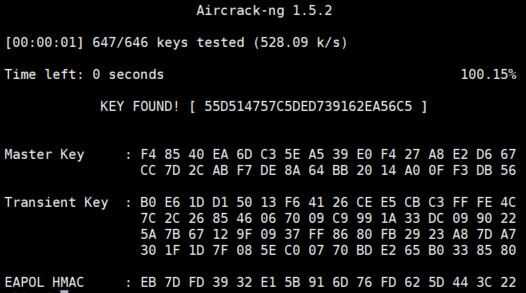 aircrack ng found password