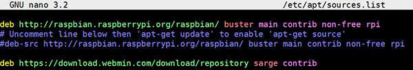 apt sources.list raspbian